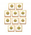 Pack de 10 biscuits à l'unité à personnaliser avec du texte et ses citrouilles dorées